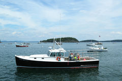 Lobster boats at Frenchman Bay near Bar Harbor, Ma Royalty Free Stock Photo