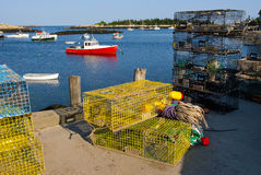 Lobster Boats and Traps in Maine Harbor Royalty Free Stock Photo