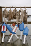 Lobster buoy and ropes. Blue lobster buoy and ropes in Maine Royalty Free Stock Images