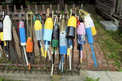 Lobster buoys. Hanging on a fence for sale Stock Photography