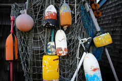 Lobster buoys in Rockport MA Royalty Free Stock Photos