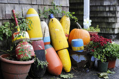 Lobster Buoys in a Rustic Fall Setting Stock Photo