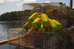 Lobster Buoys  and Traps Stock Images