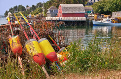 Lobster buoys and traps Stock Image