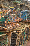 Lobster Cages on the Harbour Stock Images