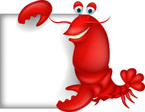 Lobster cartoon with blank sign. Illustration of Lobster cartoon with blank sign Stock Photos