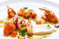 Lobster with caviar and seafood dressings. Stock Image