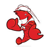 Lobster chef giving thumbs up. Clipart picture of a lobster chef cartoon character giving thumbs up Stock Photo