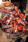 Lobster claws at metal bucket at kitchen Stock Images