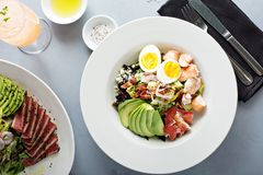 Lobster cobb salad. With avocado and egg royalty free stock image