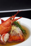 Lobster Consomme on White Plate. Lobster Consomme on a White Plate Royalty Free Stock Photos