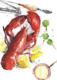 Lobster cooked red lobster dish seafood plate watercolor painting illustration on white background. Lobster cooked red lobster dish seafood plate watercolor stock illustration