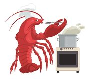 Lobster cooker. Vector image of lobster in the kitchen Royalty Free Stock Images