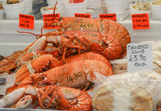 Lobster,crab and other shellfish and seadfood for sale on a fis. H market stall Stock Images