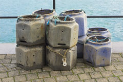 Lobster and Crab Pots. Stacked Quayside Royalty Free Stock Photography