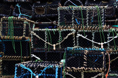 Lobster crab pots stacked Royalty Free Stock Image