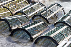 Lobster/Crab Traps in Ice Stock Photos