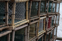 Lobster or Crab Traps on trailer. Stock Photo