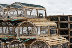 Lobster/Crab Traps on Wharf in Snow Stock Photo