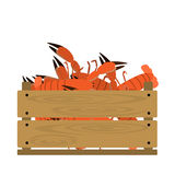Lobster in crate. Vector crate with lobsters. Natural, healthy food concept. Fresh sea animals collected in the wooden box. Flat design style Stock Images