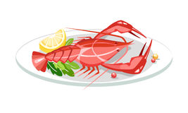 Lobster crayfish dish Royalty Free Stock Images