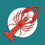 Lobster or crayfish vector illustration in vintage style. Stock Photo