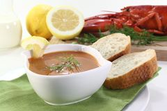 Lobster cream soup Royalty Free Stock Photo