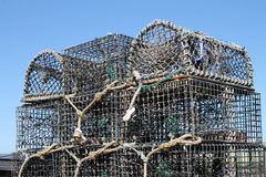 Lobster or creel pots neatly stacked. Lobster or creel fishing pots neatly stacked Royalty Free Stock Image