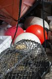 Lobster Creel, Tow Float, and Platform Buoys royalty free stock images