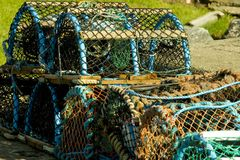 Lobster Creels at Scottish Harbour Royalty Free Stock Photos