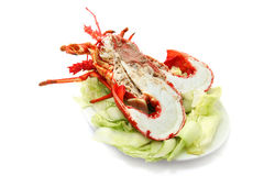Lobster. Cut in half isolated on white royalty free stock photography