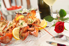 Lobster dinner Stock Images