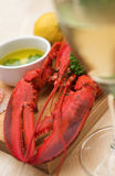 Lobster dinner with wine Stock Photography
