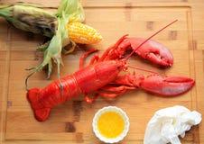 Lobster dinner wooden background Stock Images