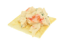 Lobster dip on a saltine cracker Royalty Free Stock Images