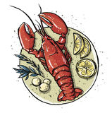 Lobster on a dish.  Seafood. Vector illustration. Royalty Free Stock Photos