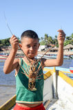 Lobster fisherman on the beach of Los Cobanos Stock Photo