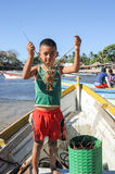 Lobster fisherman on the beach of Los Cobanos Royalty Free Stock Images