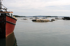 Lobster Fishing Boat in Maine Coastal Port Stock Photography