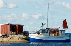 Lobster Fishing Boat On The West Coast In Sweden Stock Photo