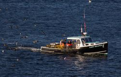 Lobster Fishing Boat in Rockland, Maine royalty free stock image