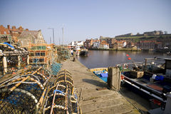 Lobster Fishing at the dock at. Whitby, selective focus Royalty Free Stock Photos