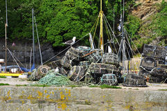 Free Lobster Fishing Gear Creels, Cornwall, England, UK. Stock Photo - 41528270