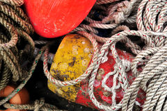 Lobster Floats buoys and rope Royalty Free Stock Photos