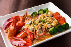 Lobster. Garlic fans steamed lobster,Chinese cuisine stock images