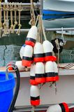 Lobster gear. Bouys for marking traps on a lobster boat Royalty Free Stock Photo
