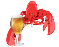 Lobster with a glass of beer. On white background Royalty Free Stock Photography