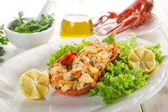 Lobster with green salad Royalty Free Stock Photo