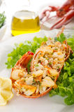 Lobster with green salad Royalty Free Stock Image