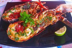 Delicious lobster grilled with herbs and lemon royalty free stock photography